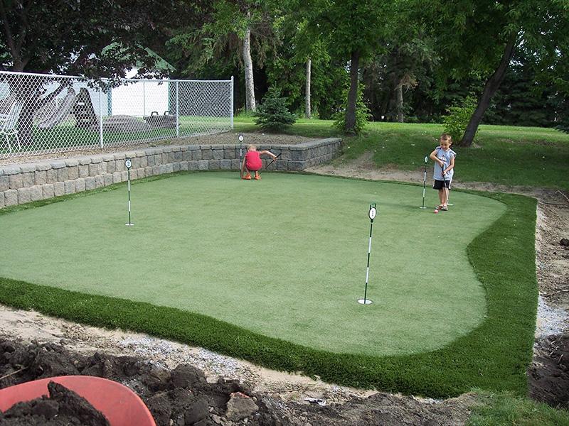 Artificial Turf Grass Edmonton Backyard Golf Putting